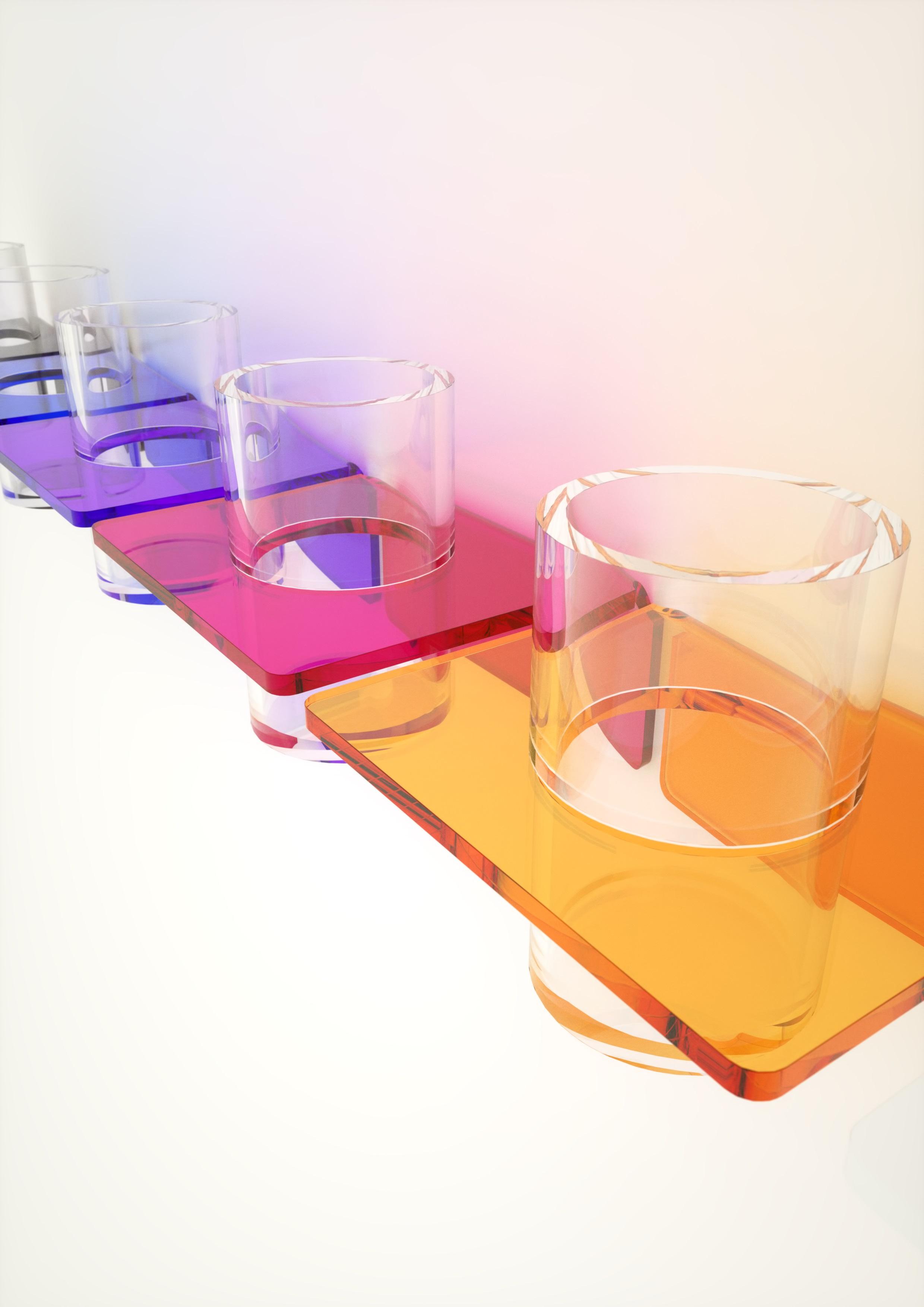Accessori doccia portabicchiere in plexiglass disponibile in vari colori - Accessori bagno plexiglass ...