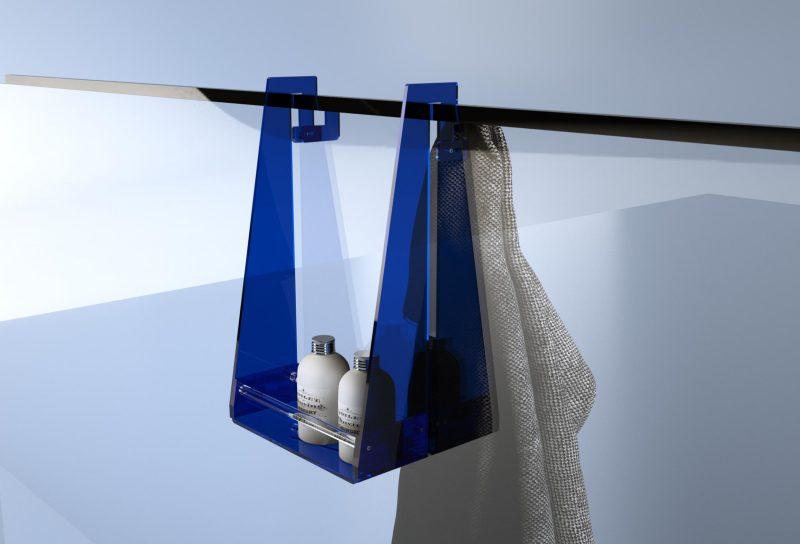 Porta oggetti in plexiglass per la doccia