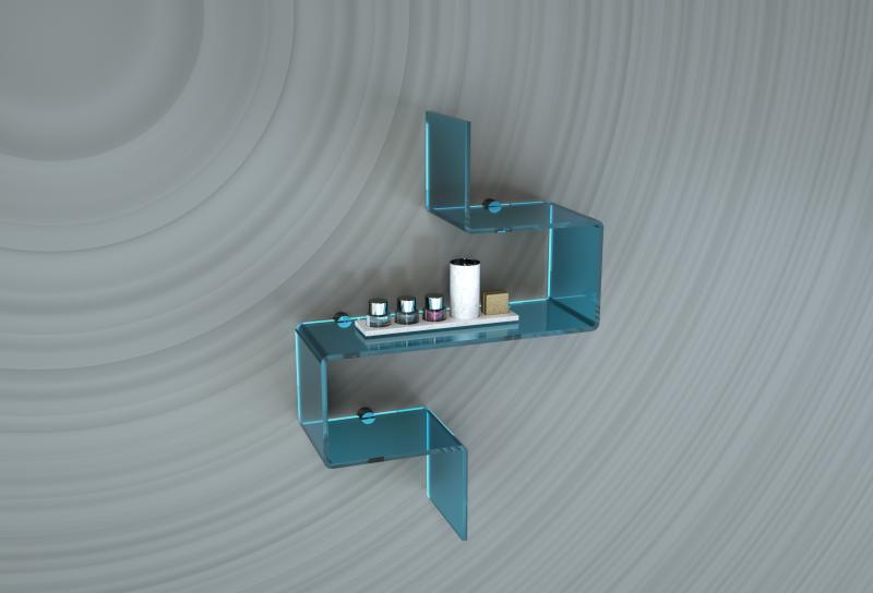 Mensola modulare in plexiglass per il bagno